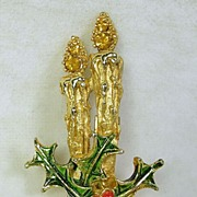 Vintage Rhinestone Candle Christmas Pin or Brooch with Holly