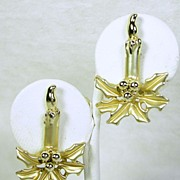 Vintage Polished and Satin Gold Tone Candle and Poinsettia Christmas Pierced Earrings