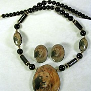Signed Japan Vintage Lion Black Beaded Necklace with matching Pierced Lion Earrings – ...