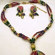 SALE Vintage Wooden Beaded Cloisonné Necklace and Dangle Clip Earrings