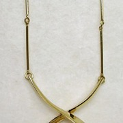 SALE Signed Panetta Gold Tone and CZ Solitaire Necklace