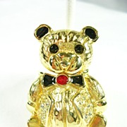 SALE Bear with a Swivel Head in Enamel and Gold Tone Brooch Pin