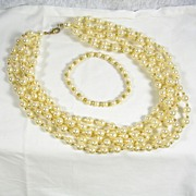 SALE Collectible 6 Strand Simulated Pearl Necklace with Bracelet