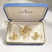 Signed Trifari with the Crown Symbol Leaf Design Brooch and Earrings in Gold  Tone