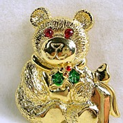 Signed Gerry's Vintage Christmas Teddy Bear Pin Brooch
