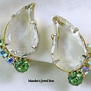 Vintage Clear Teardrop Faceted Crystal, Aurora Borealis, and Peridot Colored Rhinestone Clip .
