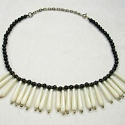 Signed Miriam Haskell Vintage Black and Ivory Bib Necklace