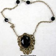 Vintage Art Deco Design Black Faceted Glass Necklace