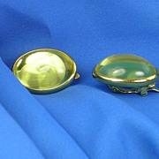 SALE Signed Trifari Goldtone Citrine Colored Cab Stone Earrings
