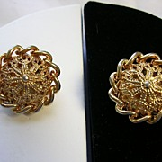 SALE Signed Kramer Filigree and Link Chain Earrings in Gold Tone