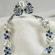 Signed Lisner Sapphire and Aurora Borealis Rhinestones Floral and Leave Necklace and Earrings