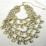 Signed Marboux Simulated Freshwater Pearl Cascading Necklace with Gold Tone Leaf Charms
