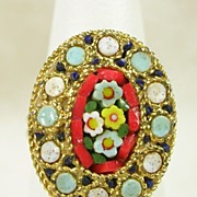 Signed Italy Mosaic Adjustable Ring