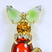 Vintage Mouse Pendant with Simulated Amber and Topaz Rhinestones in Gold Tone