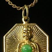 SALE Buddha Pendant with Jade Cabochon Stone Goldtone
