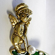 SALE Signed Danecraft Vintage Golf Angel with Green Enamel Faux Pearl in Gold Tone