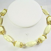 SALE Trifari Lucite Necklace in Ivory and Gold  Tone