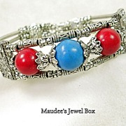 Simulated Red Agate and Turquoise Bead Ornate Bangle Bracelet in Silvertone