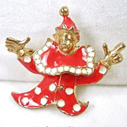 Vintage Red Enamel Clown Brooch/Pin and Pendant