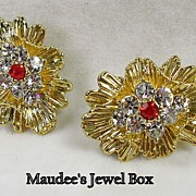 Goldtone Earrings with Clear and Ruby Rhinestones