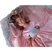 SALE Storybook Style Doll in Pink and Blue Satin  Gown Brunette Hair Unmarked