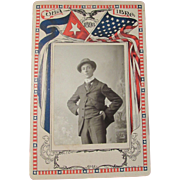 SOLD Cuba Libre 1898 Photo Mount in Patriotic Colors with Sepia Photo Young Man