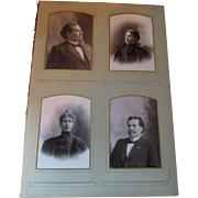 SALE Victorian Era Photo Album Page with Cabinet Cards of Couple and Children 1897