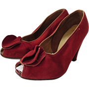 Ladies High Heels in Lipstick Red Suede 1940 Style Paris Fashion Shoes Fifth Avenue