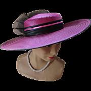 SALE Jaunty Wide Brim Church Hat in Stripes of Fuchsia and Black Made in Taiwan ...