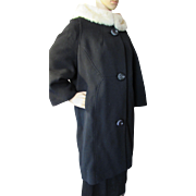 SALE Attractive Mid Century Winter Coat in Black with White Fur Collar Union Label Stevens Roc