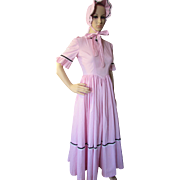 SALE Little House on the Prairie Style Dress and Sunbonnet in Pink Gingham Reproduction Costum
