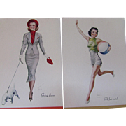 1938 Advertising Fashion Plate Calendars or Ink Blotters Group of 11, All Different