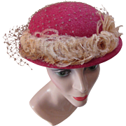Little Felt Topper in Savannah Rose with Peach Ostrich Feather by Gage and Nyala