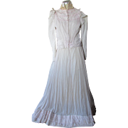 Victorian Edwardian Era Day Dress Top and Skirt in Hint of Pink Size Extra Small
