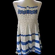Little Girl's Apron in Crochet Blue and Cream