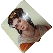 Vintage Pill Box Trinket Box with Beautiful Lady in Orange Gown