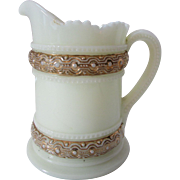 Heisey Custard Glass Pitcher with Gilt Trim--Pretty Little Thing