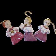 SALE Trio 1950 Christmas Holiday Ornaments Glazed Porcelain Choir Boys by Yona Original Box