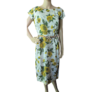 SALE Summer Dress in Yellow and Green Flowers Rayon