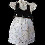 Little Girl Party Dress in Flocked Nylon and Black Velveteen Vest