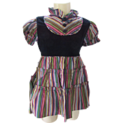 Little Girl Party Dress in Striped Taffeta and Black Velvet Mistress Mary by Keen Togs ...
