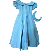 SALE Girl's Vintage Wedding Flower Girl Dress in Turquoise Taffeta with Head Band