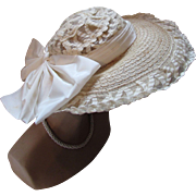 Wide Brim Summer Spring Hat in Ivory Tone Straw with Braid Open Crown