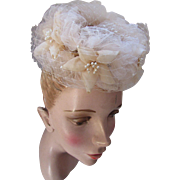 SALE Topper Hat Whimsy Style in Frothy Nude Net and Faux Pearl Tipped Petals