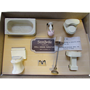 SALE Strombecker Doll House Furniture White Bathroom Set in Original Box