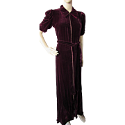 SALE Luxurious Velvet Lounge or At-Home-Entertaining Gown in Wine Tone 1940 Style