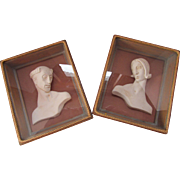 SALE Pair Framed Plaster Busts of Paphnutius and Thais by W. E. Faser