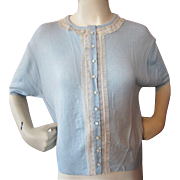 SALE Mid-Century Orlon Sweater in Powder Blue New Old Stock from Marshall Field
