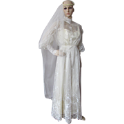 SALE Wedding Gown with Victorian Influence in Candlelight Satin and Lace by Sylene Bridal of .