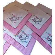 SOLD Set of Eight Napkins Cottage Style Embroidered with Tea Cups and Pink Border